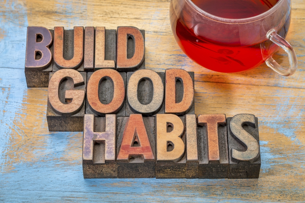 build good habits motivational concept - text in vintage letterp